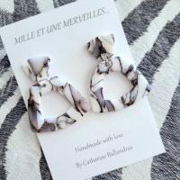 Boucles d'oreilles marbre noires et blanches