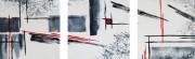 tableau abstrait noir blanc rouge triptyque contemporain : Triptyque abstrait