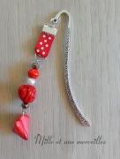 bijoux marque page bijoux de livre idee cadeau fete des meres : Marque page Fimo berlingot et perle rouge