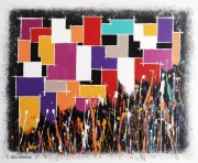 tableau abstrait tableau multicolore giclees de peintures quadrillage formes geometriques : CONFETTIS