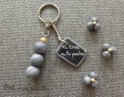 bijoux idee cadeau fete des peres saint valentin petanque boules : Porte-clé et magnets FIMO pétanque