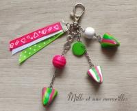 Bijoux de sac FIMO berlingots rose et vert