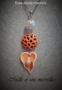 bijoux collier feuille sautoir inox fimo : Collier gamme minérale n°9