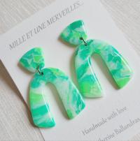 """Boucles d'oreilles vertes #menthe à l'eau"""""""