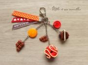 bijoux bijoux de sac chocol idee cadeau fete des meres sac ,a main : Bijoux de sac FIMO  chocolat orange