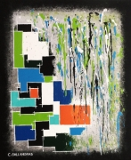 tableau abstrait giclees de peinture formes geometriques : TOURMENT