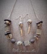 bijoux collier noir et beig pate polymere modele unique bijoux artisanaux : Collier et boules d'oreilles en perles fimo