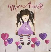 """tableau personnages tableau enfant petite fille chambre enfant cadeau naissance : """"La petite fille à la balançoire"""""""