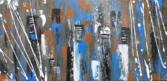 TABLEAU PEINTURE abstrait bleur et marron urbain Villes Acrylique  - ORAGE SUR LA VILLE