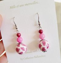 Boucles d'oreilles florales roses