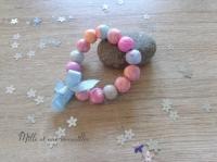 Bracelet FIMO corail, rose pâle et bleu azur