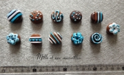 deco design aimants chocolat magnets frigo idee cadeau fete des meres : Magnets aimants Fimo chocolats bleus