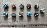 Magnets aimants Fimo chocolats bleus
