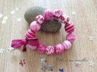 Bracelet FIMO vieux rose et prune