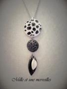 bijoux sautoir noir et blan chic original idee cadeau : Collier gamme minérale n°5