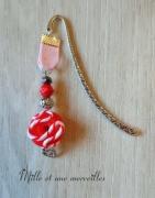 bijoux marque page original bijoux de livre cadeau lecteur donuts : Marque page fimodonuts rouge et rose