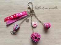 Bijoux de sac FIMO berlingot macaron et perle rose et gris