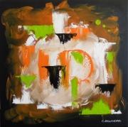 tableau abstrait abstrait vert et ora noir contemporain : ID-CODE