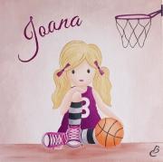 tableau personnages tableau enfant decor chambre enfant basketball sport : tableau enfant basketball
