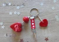 Porte-clé Fimo macaron coeur rouge
