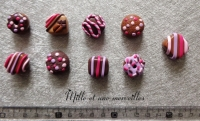 Magnets aimants Fimo chocolats rose