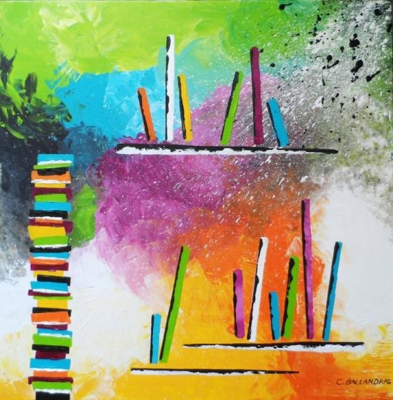 TABLEAU PEINTURE livres tableau multicolore salon moderne Abstrait Acrylique  - VOLUMES