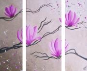 tableau fleurs fleurs salon chambre decoration : Triptyque MAGNOLAIS
