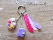 bijoux autres bijoux de sac peinture rose ruban : Porte-clé Fimo palette de peinture