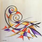 tableau abstrait arabesque multicolore contemporain : HYPNOSE
