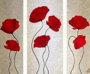 tableau fleurs brin de coquelicots fleurs champetre : COQUELICOTS TRIPTYQUE