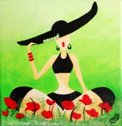 tableau personnages femme humour coquelicots : PIN'UP COQUELICOTS