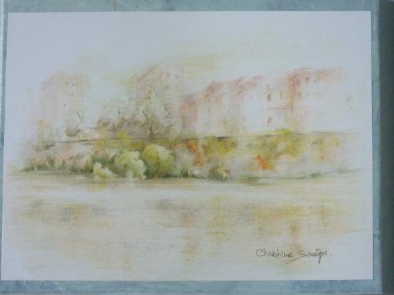 DESSIN toulouse quais garonne Villes  - Garonne, jaune oranger