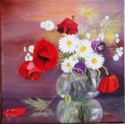 tableau fleurs coquelicots rouge vase transparence : Fleurs des champs
