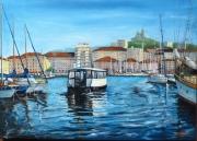 tableau marine marseille mer bateau pecheurs : MARSEILLE : Le Ferry Boat