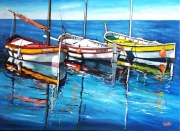 tableau marine mer bateau peche mediterranee : Barques de La Ciotat