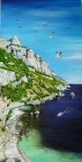 tableau marine mer calanques marseille cassis : MARSEILLE : Calanque des Pierres tombées