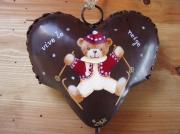artisanat dart animaux nounours cloche coeur metal : Vive le ski (rouge)