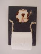 artisanat dart animaux vache ronde coeurs decoration : Dévidoir papier toilette (vache de dos (fond gris))