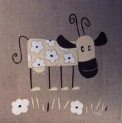 tableau animaux vache fleurs humour contemprorain : Vache à fleurs