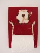 artisanat dart animaux vache utile humour bois : Dévidoir papier toilette (Vache de dos (fond rouge))
