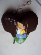 deco design animaux souris bulles enfants cloche metal : Souriceau qui fait des bulles