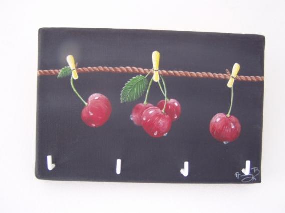 DéCO, DESIGN Toile Accroches-torchons Portes-clefs Décoration Fruits  - Les Cerises