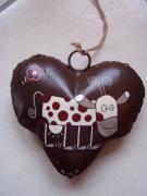 deco design animaux vache pois coeur cloche metal : Vache à pois sur cœur cloche