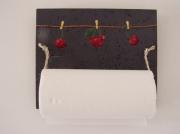bois marqueterie fruits printemps cerises rouge bois : Dévidoir sopalin (cerises)