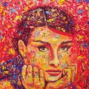 tableau personnages audrey popart colors : Audrey Hepburn