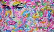 tableau personnages popart visage portrait couleurs : An Abstract Expression