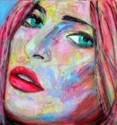tableau personnages visage femme peinture popart : Regard Fugitif