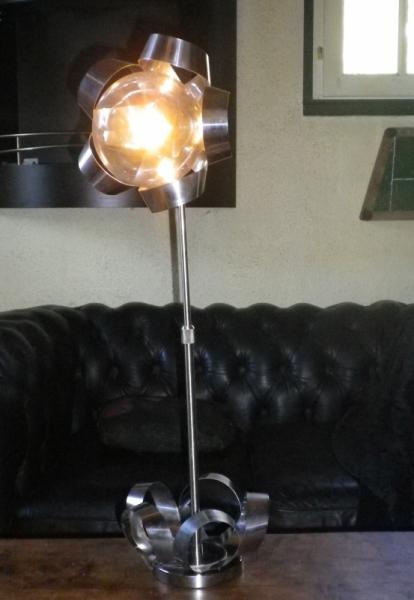 DéCO, DESIGN lampe inox lampe vintage deco 60's Fleurs  - Fleur de Métal