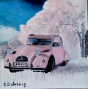 tableau scene de genre tableau contemporain moderne art : un amour de voiture