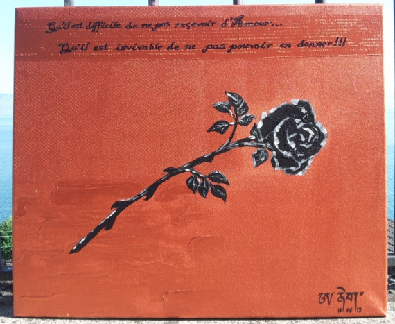 TABLEAU PEINTURE Rose noire Fleurs Acrylique  - Vital d'Amour